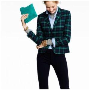 J. Crew • black watch plaid blazer jacket in green